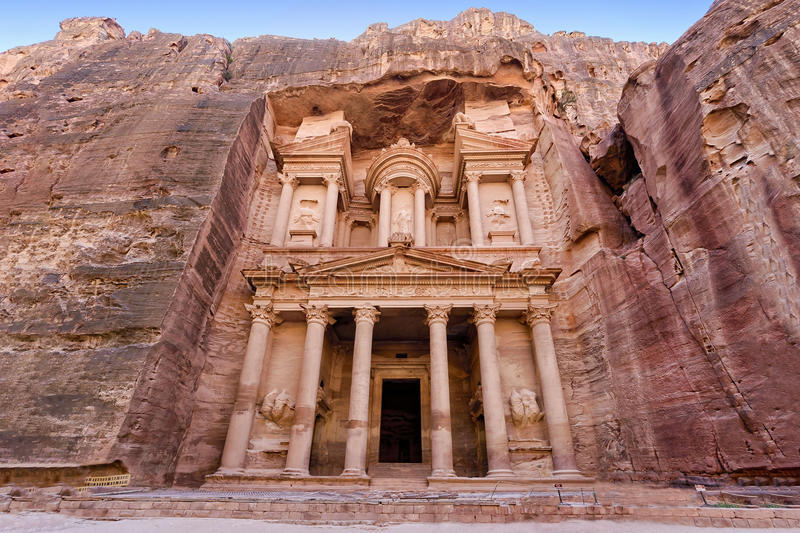 Frontal view of `The Treasury`, one of the most elaborate temples in the ancient Arab Nabatean Kingdom city of Petra, Jordan. Al-Khazneh `The Treasury royalty free stock image
