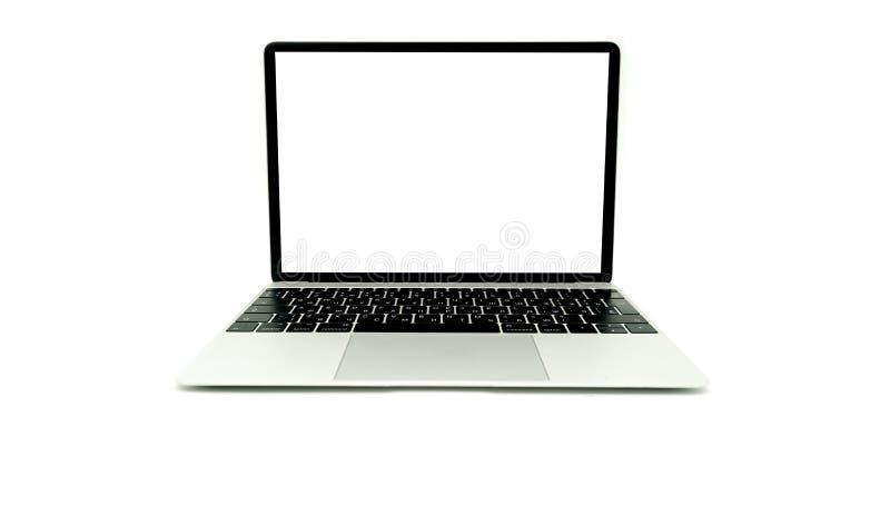 Frontale aperto del computer portatile isolato fotografia stock libera da diritti