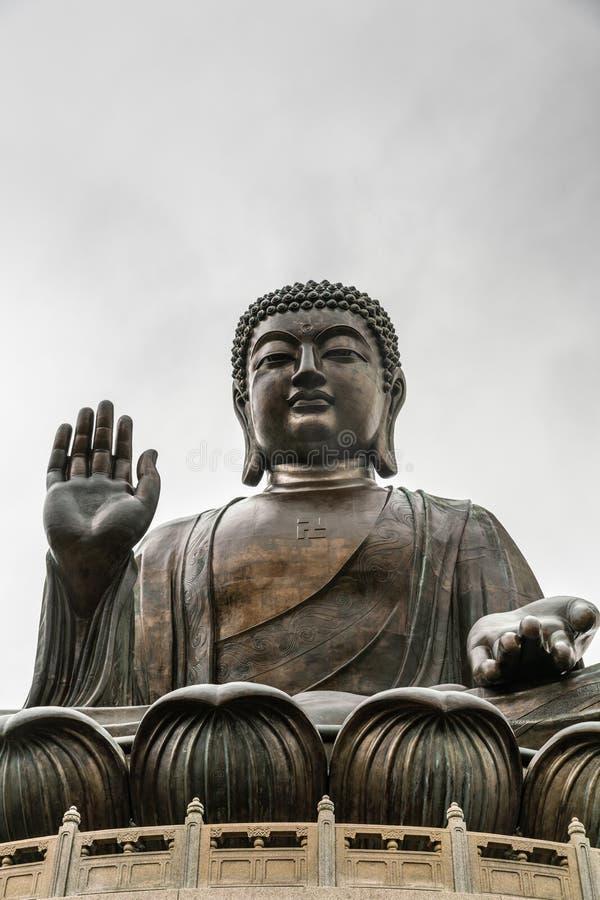 Frontale Gesichtsansicht von Tian Tan Buddha, Hong Kong China stockbild