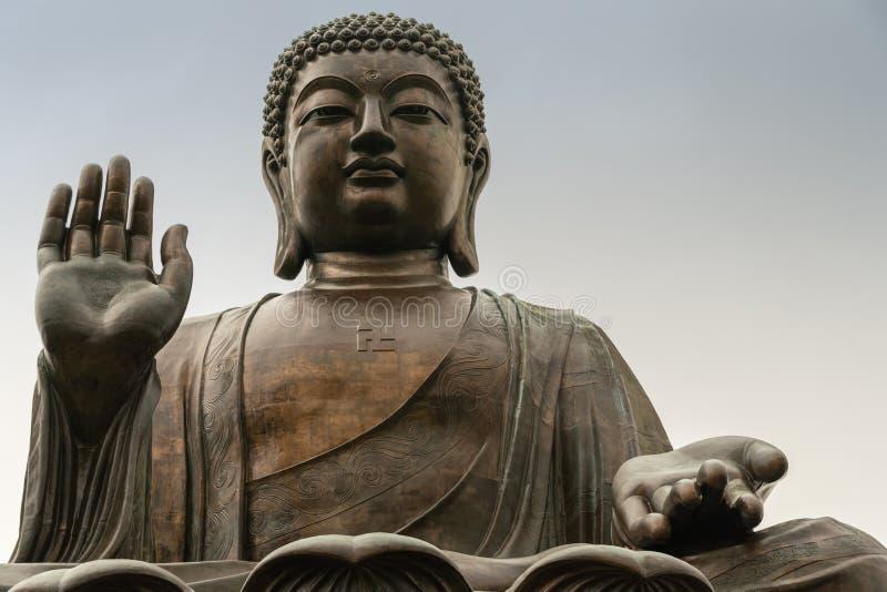 Frontale Gesichtsnahaufnahme von Tian Tan Buddha, Hong Kong China lizenzfreies stockfoto