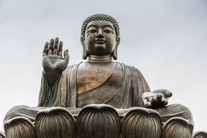 Frontale Gesichtsnahaufnahme von Tian Tan Buddha, Hong Kong China stockbilder