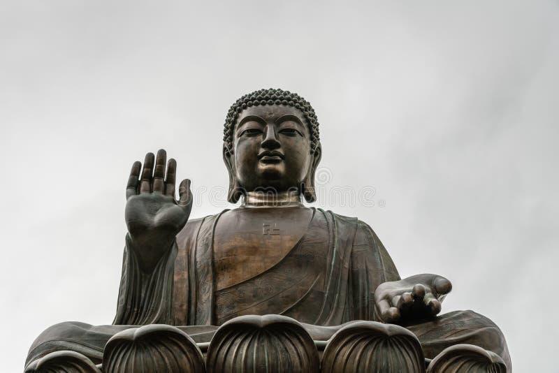 Frontale Gesichtsnahaufnahme von Tian Tan Buddha, Hong Kong China lizenzfreies stockbild