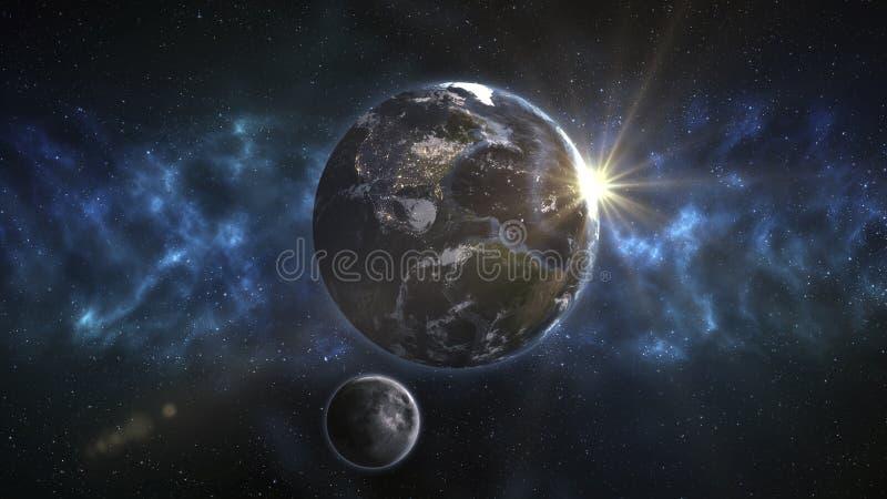 Frontale Mening van de Aarde en de Cirkelende Maan De elementen royalty-vrije illustratie