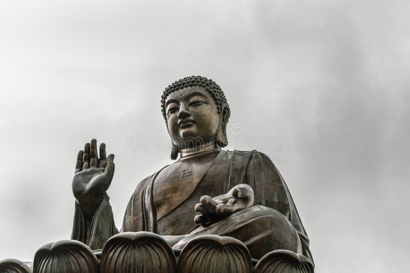 Frontale Nahaufnahme von Tian Tan Buddha, Hong Kong China lizenzfreie stockbilder