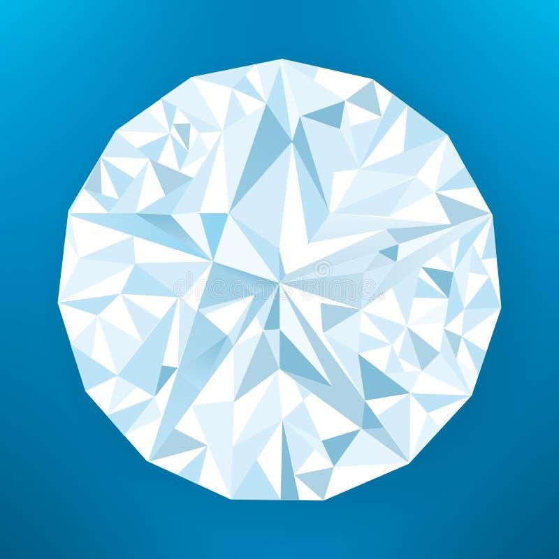Frontansicht des regelmäßigen Diamanten mit Reflexionen lizenzfreie abbildung