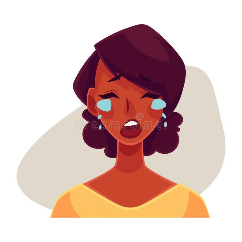 Fronte africano della ragazza, gridante espressione facciale illustrazione di stock