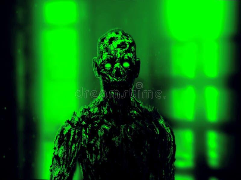 Fronte apocalittico dello zombie torvo Colore verde illustrazione vettoriale
