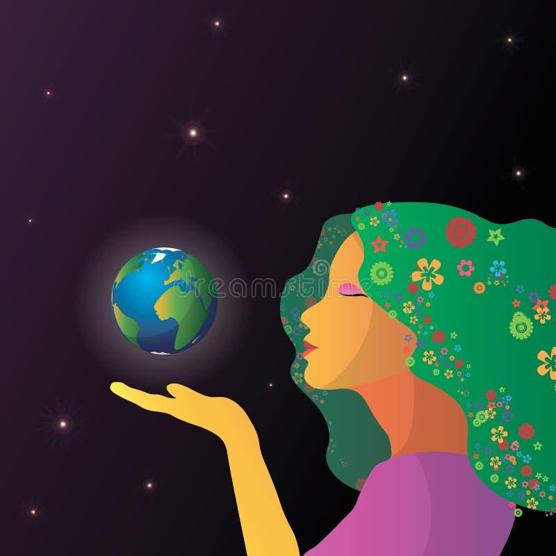 Fronte astratto della donna con terra in mani illustrazione vettoriale