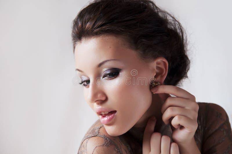 Fronte attraente delle ragazze immagine stock