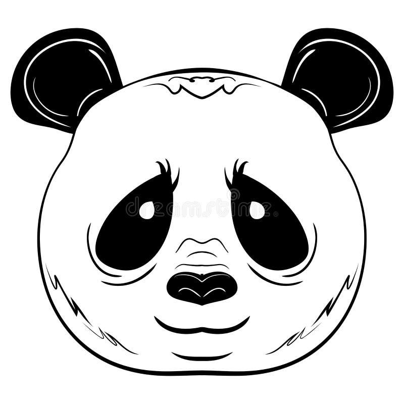 Fronte in bianco e nero del panda di schizzo di vettore illustrazione vettoriale