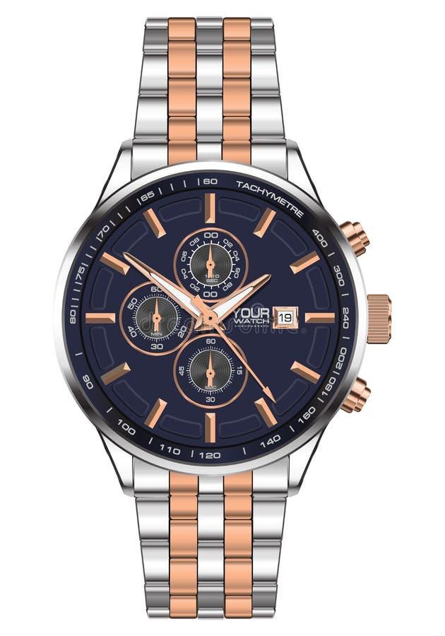 Fronte blu dell'orologio dell'orologio del cronografo del rame realistico dell'acciaio inossidabile per gli uomini sul vettore bi illustrazione vettoriale