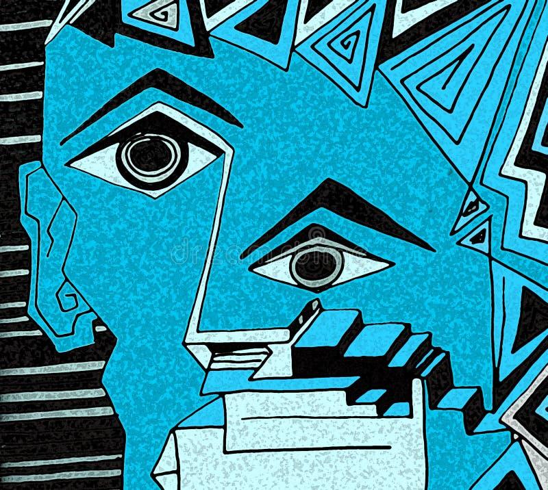 Fronte blu espressivo con gli occhi neri ed i dettagli geometrici illustrazione di stock