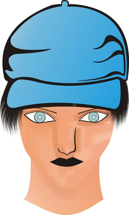 Fronte capo con gli orli blu del nero del cappello immagini stock
