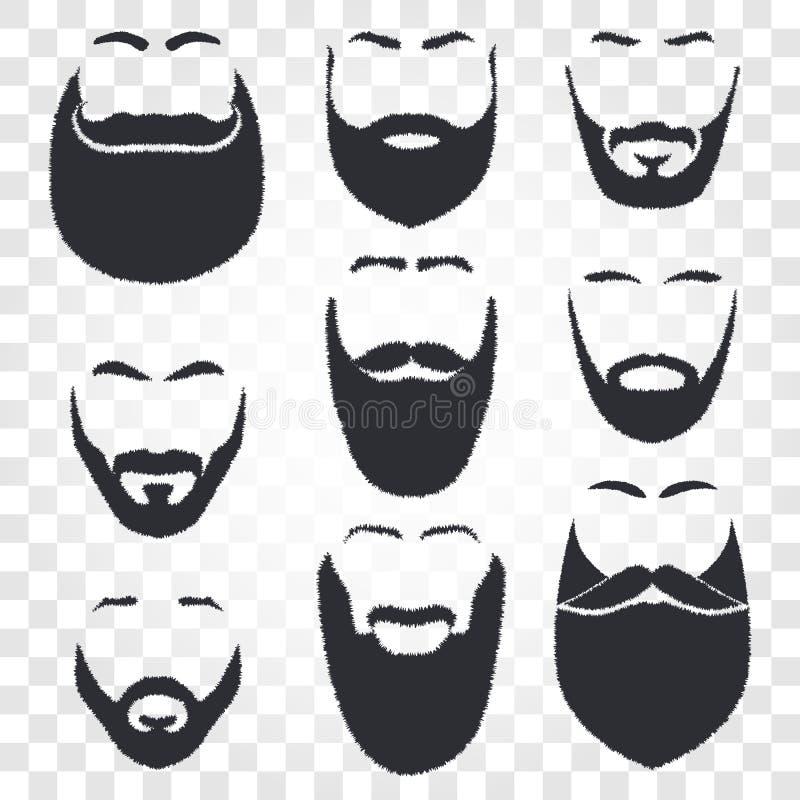 fronte con l'insieme di logo di vettore della barba e dei baffi Emblema del negozio di barbiere degli uomini royalty illustrazione gratis