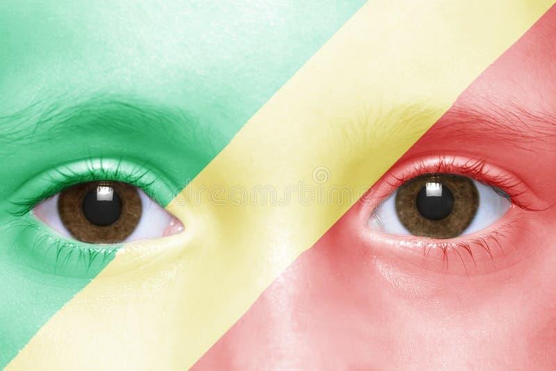 Fronte con la bandiera congolese immagine stock libera da diritti
