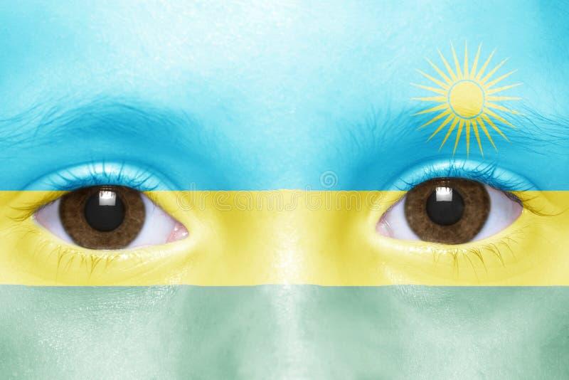 Fronte con la bandiera ruandese immagine stock