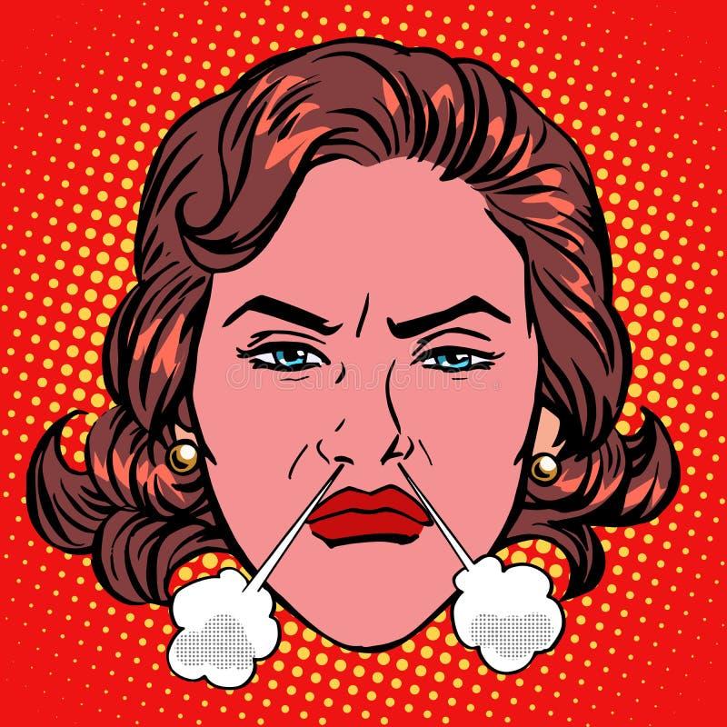 Fronte d'ebollizione della donna di retro di Emoji rabbia di collera illustrazione di stock