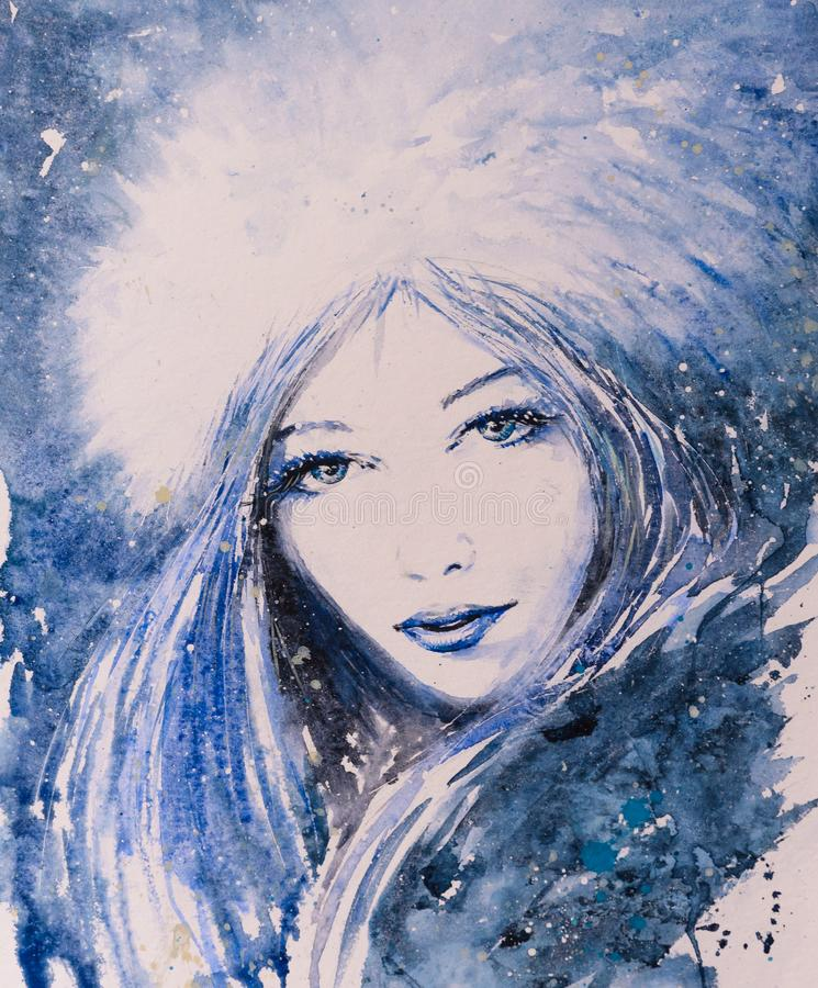 Fronte degli acquerelli della donna di inverno dipinti illustrazione di stock