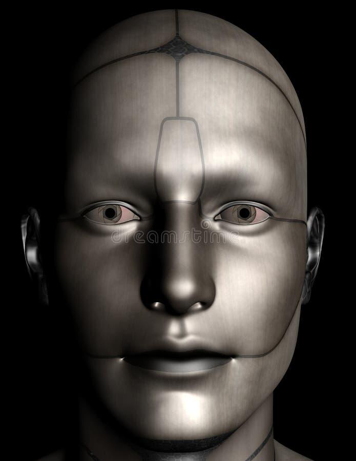Fronte del cyborg di Android del robot isolato illustrazione vettoriale