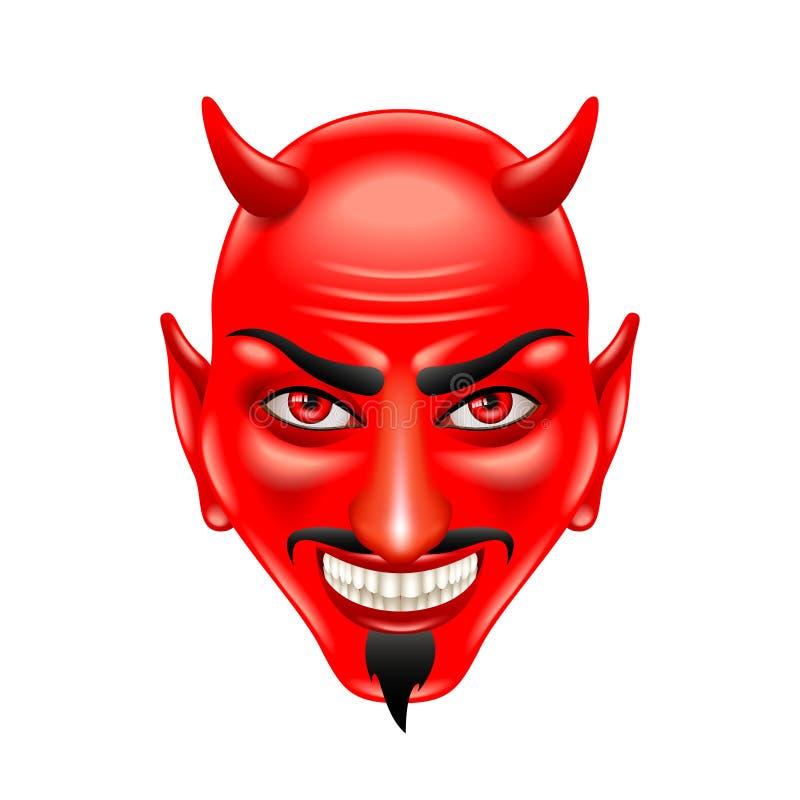 Fronte del diavolo isolato sul vettore bianco illustrazione vettoriale