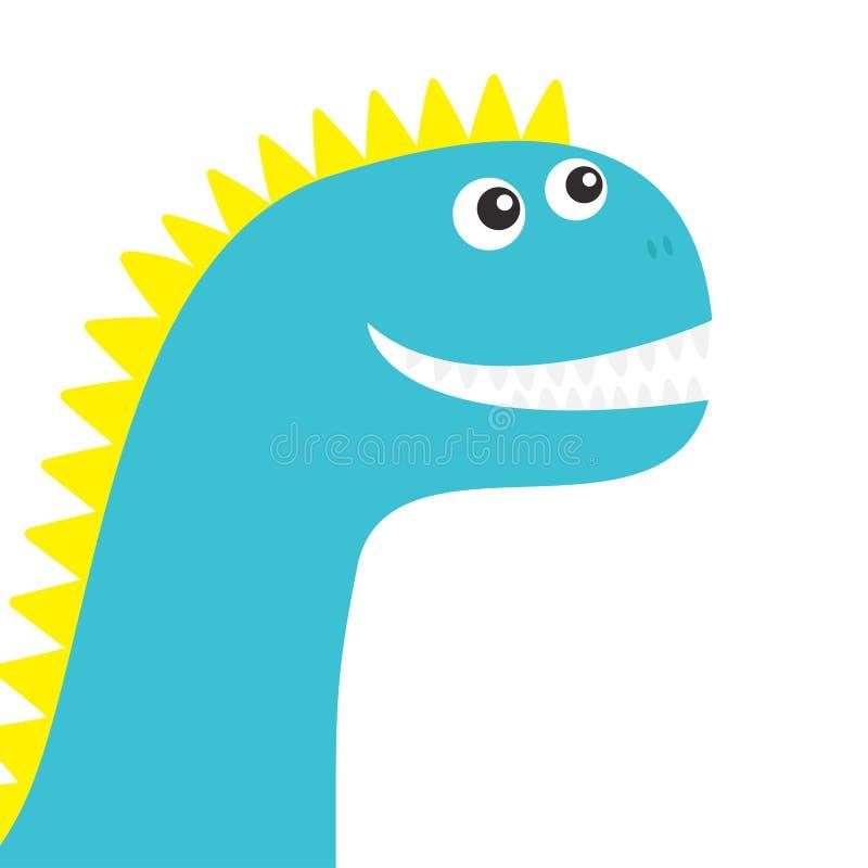 Fronte del dinosauro Carattere divertente del bambino di Dino del fumetto sveglio Progettazione piana colore blu e giallo Priorit illustrazione di stock