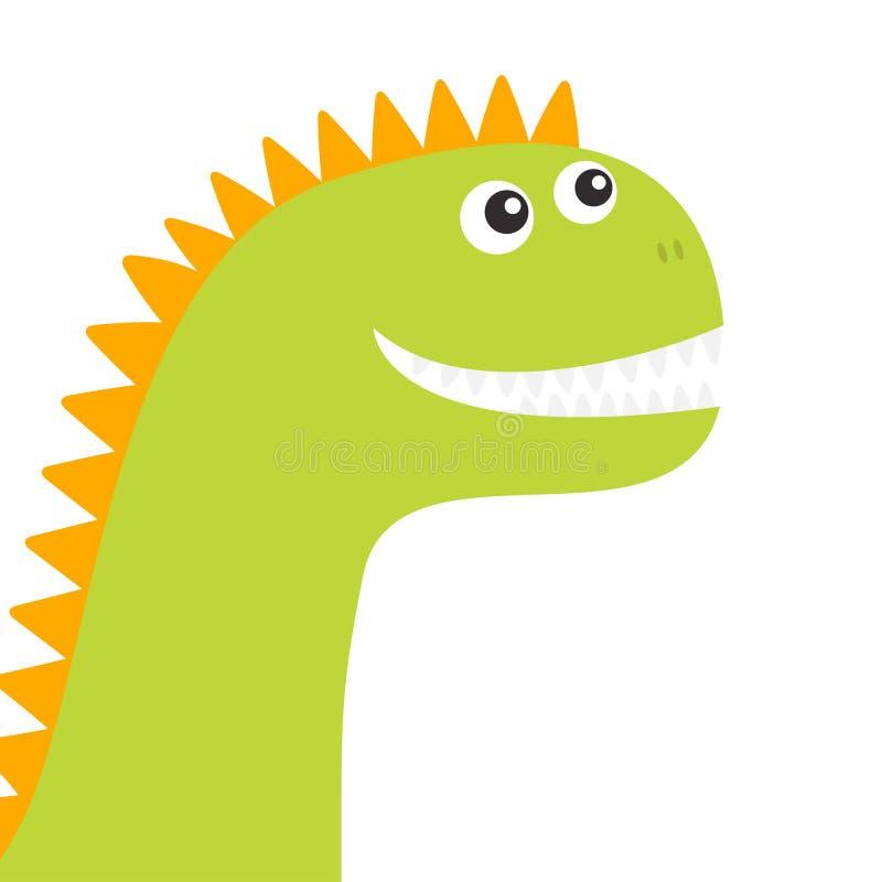 Fronte del dinosauro Carattere divertente del bambino di Dino del fumetto sveglio Progettazione piana Colore verde ed arancio Pri royalty illustrazione gratis