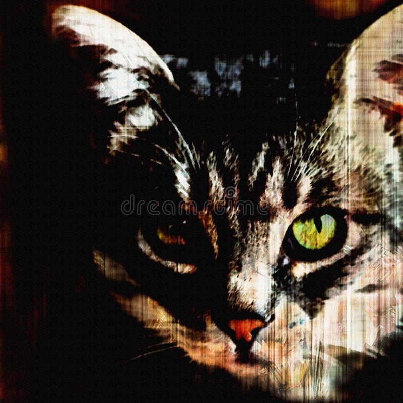 Fronte del gatto con l'occhio verde sul fondo nero a strisce di lerciume illustrazione vettoriale
