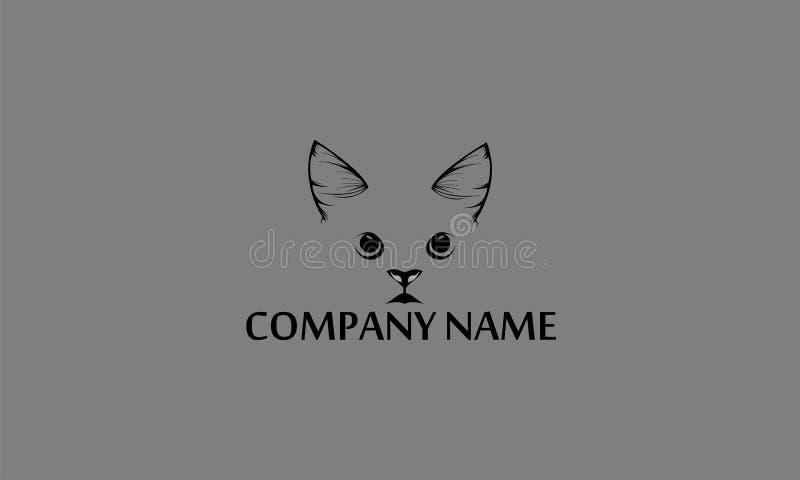 fronte del gatto del modello di logo immagine stock