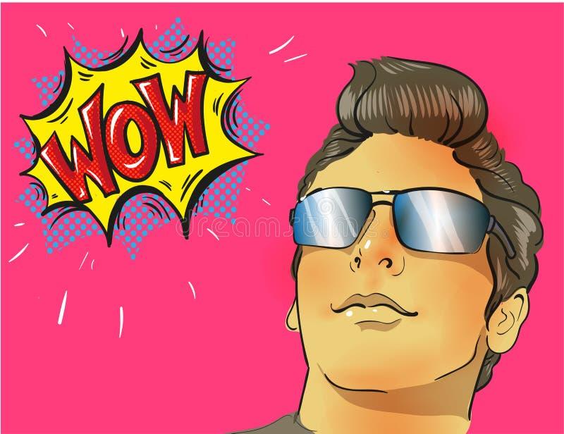 Fronte del maschio di Pop art di wow Giovane uomo sorpreso sexy in vetri illustrazione vettoriale