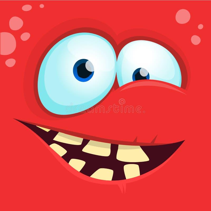 Fronte del mostro del fumetto Avatar felice del quadrato del mostro di Halloween di vettore Maschera divertente del mostro illustrazione di stock