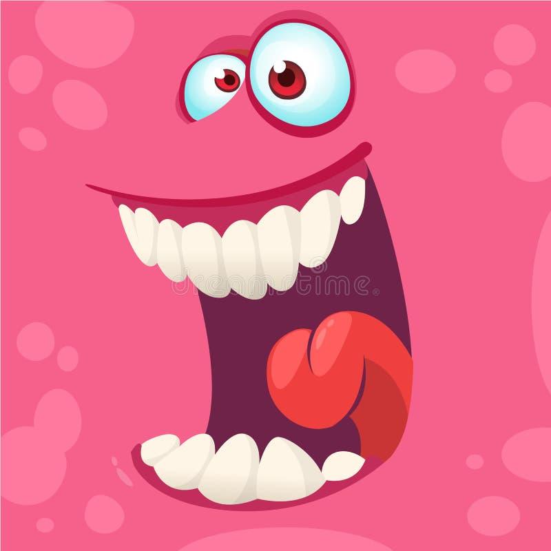 Fronte del mostro del fumetto Avatar felice rosa del quadrato del mostro di Halloween di vettore Maschera divertente del mostro illustrazione vettoriale
