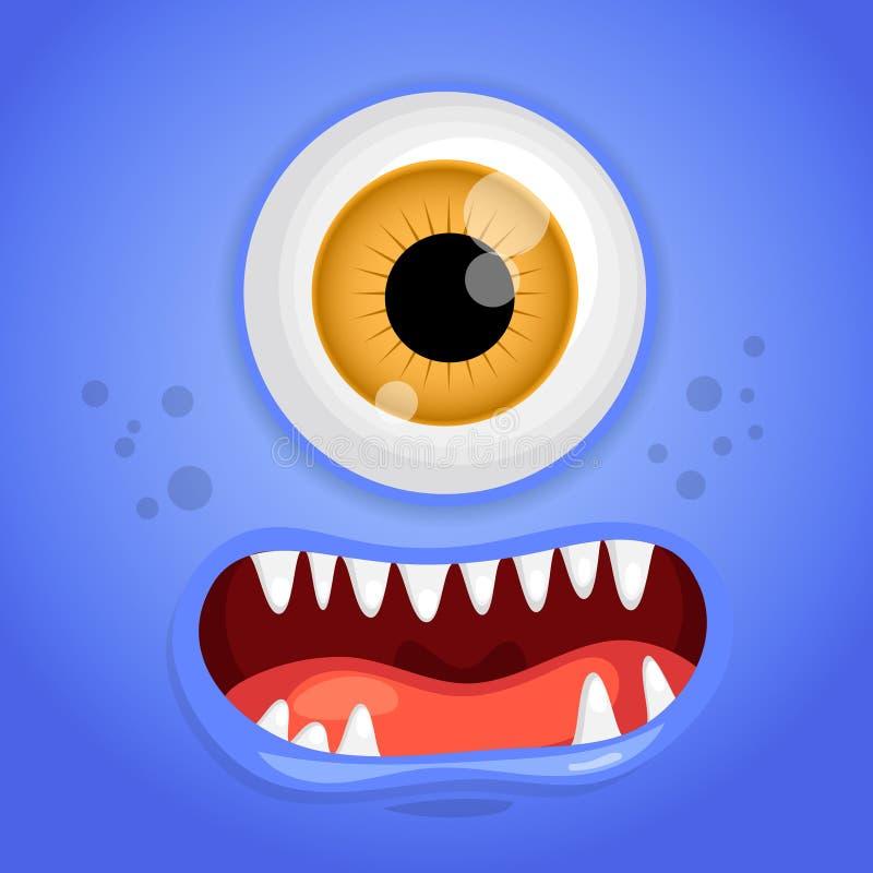 Fronte del mostro del fumetto Avatar sorridente blu di fiaba di Halloween di vettore Illustrazione di vettore illustrazione vettoriale