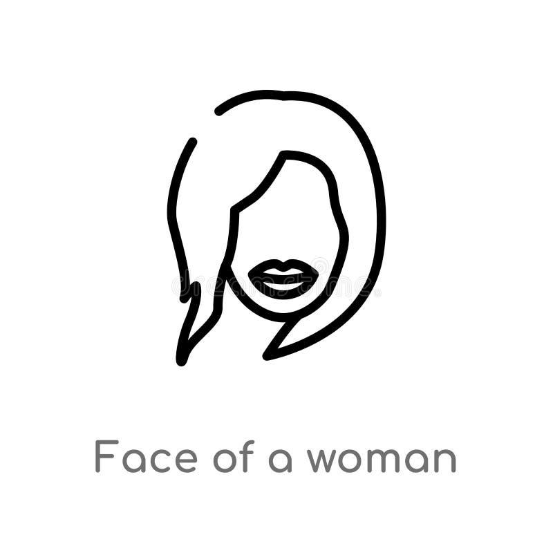 fronte del profilo di un'icona di vettore della donna linea semplice nera isolata illustrazione dell'elemento dal concetto umano  illustrazione vettoriale