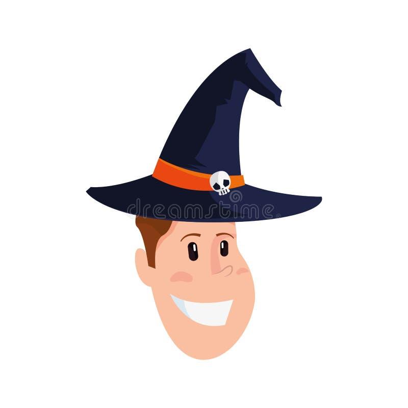 Fronte del ragazzo con il cappello della strega royalty illustrazione gratis