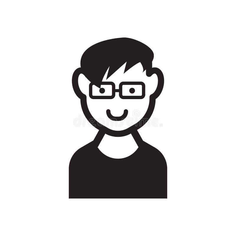 Fronte del ragazzo con l'icona di vetro Fronte d'avanguardia del ragazzo con il logo co di vetro royalty illustrazione gratis