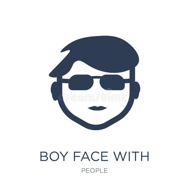 Fronte del ragazzo con l'icona di vetro Fronte piano d'avanguardia del ragazzo di vettore con il gla illustrazione vettoriale
