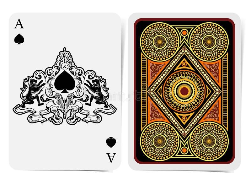 Fronte dell'asso di picche con le vanghe dentro il modello astratto con i leoni e la parte posteriore con il modello geometrico d royalty illustrazione gratis