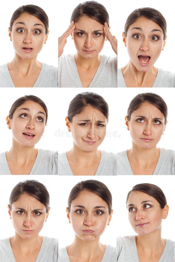 Fronte dell'attore, una compilazione delle emozioni fotografia stock
