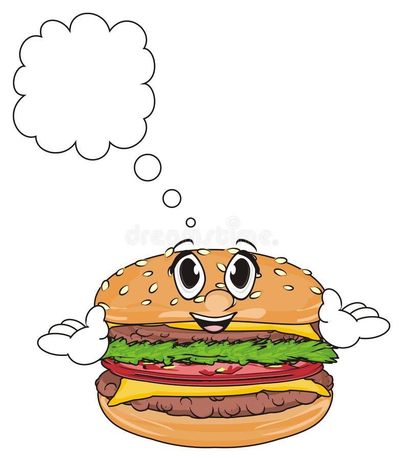 Fronte dell'hamburger con il segno pulito royalty illustrazione gratis