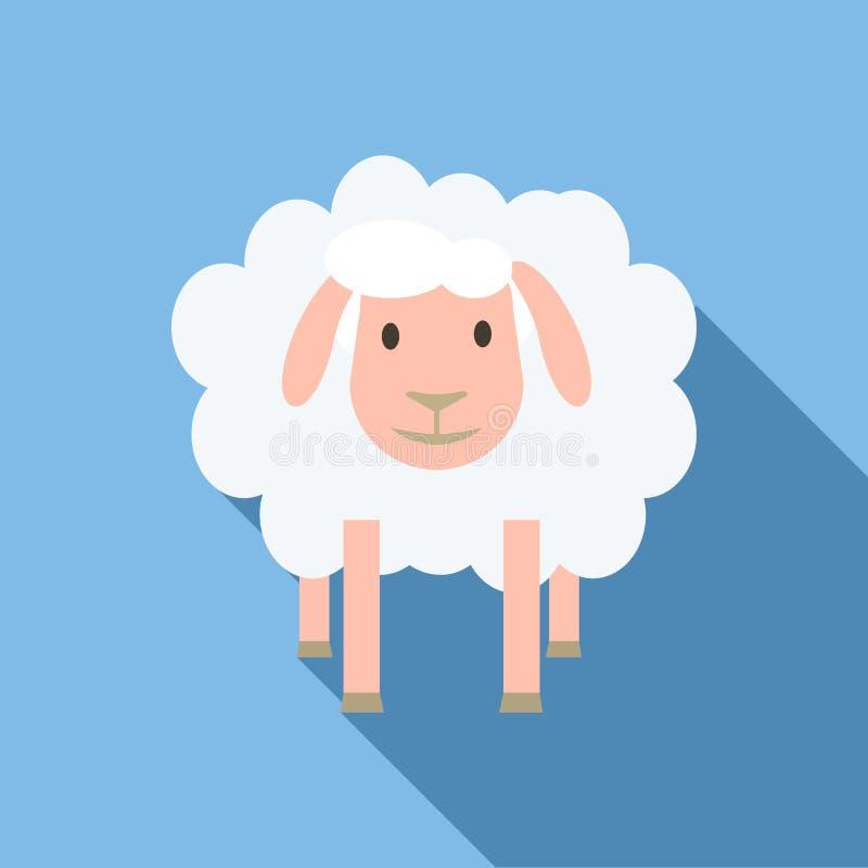 Fronte dell'icona delle pecore, stile piano illustrazione di stock