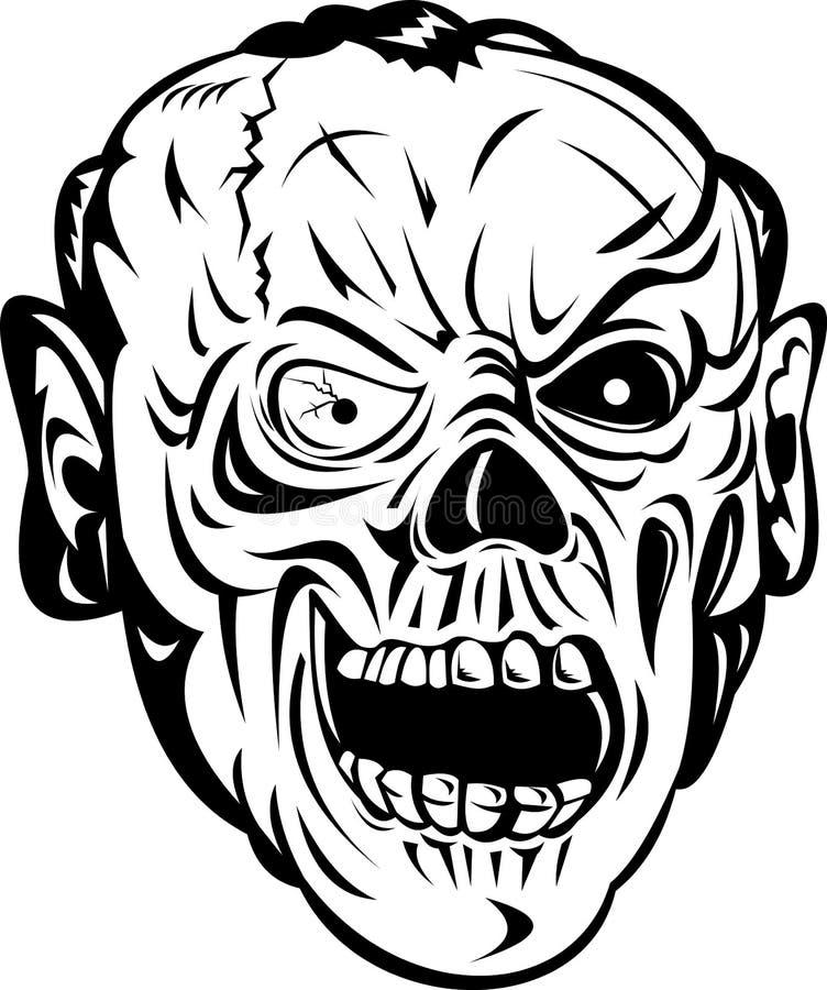 Fronte dell'osso del cranio delle zombie illustrazione vettoriale