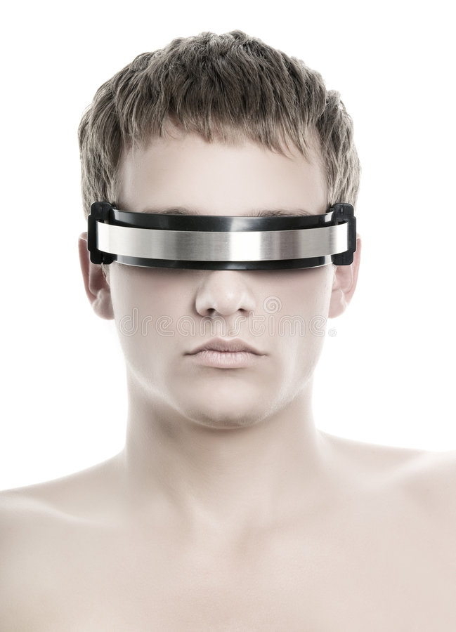 Fronte dell'uomo bello di cyber fotografie stock