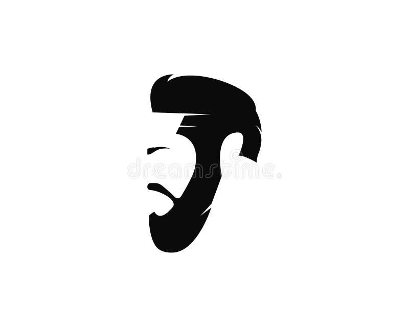 fronte dell'uomo con l'illustrazione dell'icona di vettore del modello di logo della barba royalty illustrazione gratis
