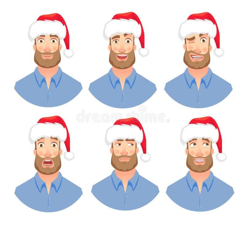 Fronte dell'uomo con la barba illustrazione vettoriale