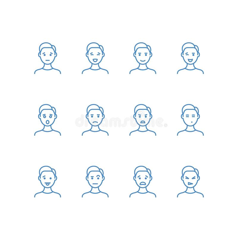 Fronte dell'uomo con la linea differente icone di emozioni Simboli maschii del profilo di profilo del emoji Felice, triste, diver illustrazione vettoriale