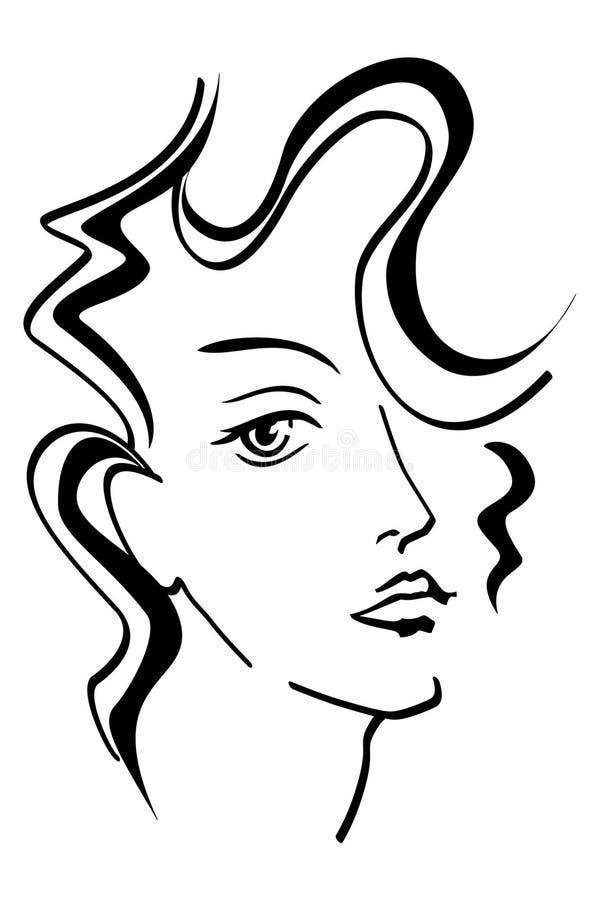 Fronte della bella donna royalty illustrazione gratis