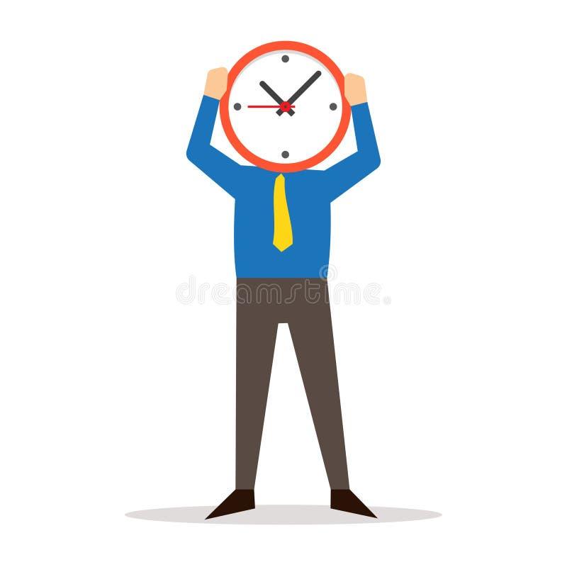 Fronte della copertura dell'orologio della tenuta dell'uomo royalty illustrazione gratis