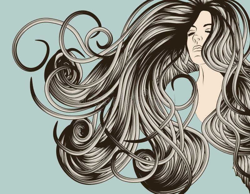 Fronte della donna con capelli scorrenti dettagliati illustrazione vettoriale