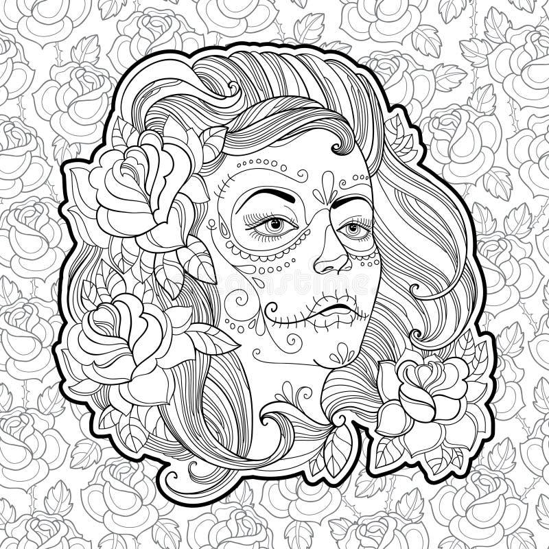 Fronte della donna con il cranio dello zucchero o trucco di Calavera Catrina sui precedenti con le rose illustrazione vettoriale