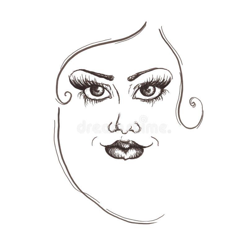 Fronte della donna del disegno a matita con le linee nere schizzo, illustrazione illustrazione vettoriale